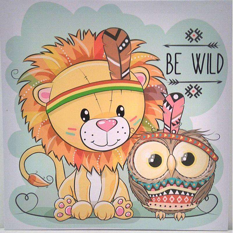 Kids Decor Canvas Prints - 40 x 40cm Lion Be Wild