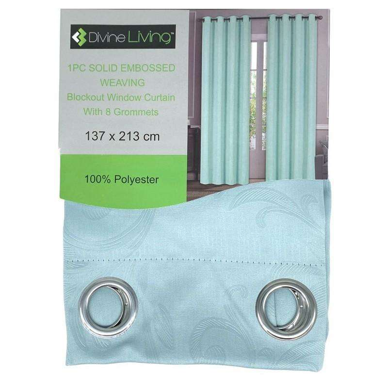 Divine Living Curtain Embossed Light Blue