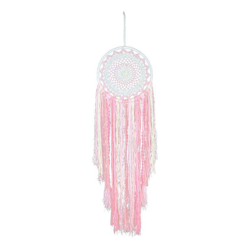 Crochet Dream Catcher with Braids 27cm - Pink