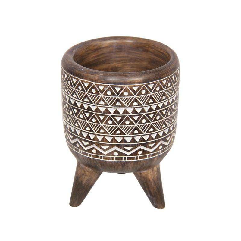 Boho Tribal African Art Décor Bowl Planter 15cm - Triangles and Dots