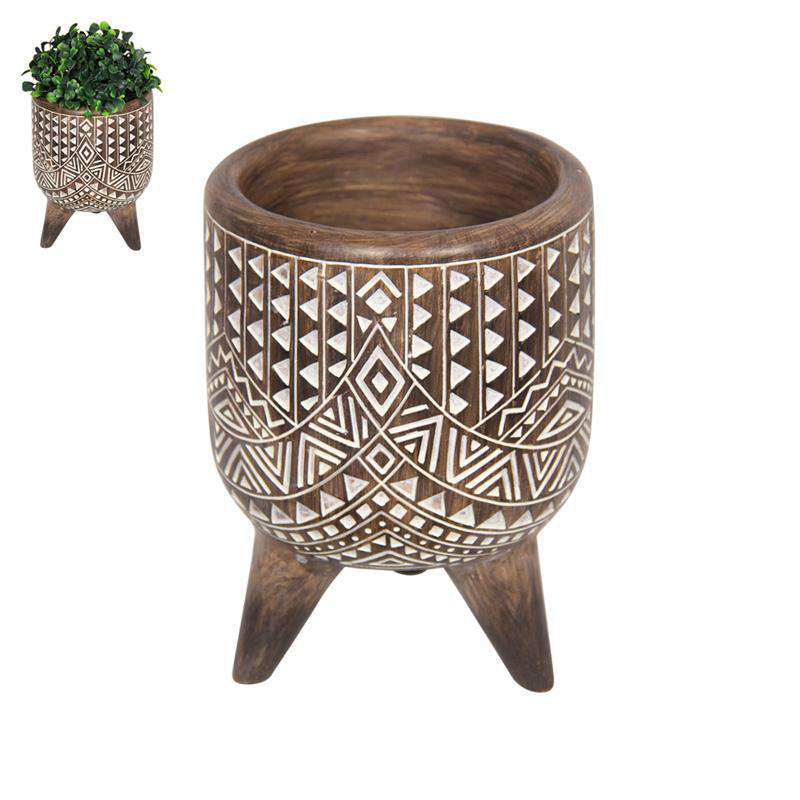 Boho Tribal African Art Décor Bowl Planter 15cm - Triangles and Lines