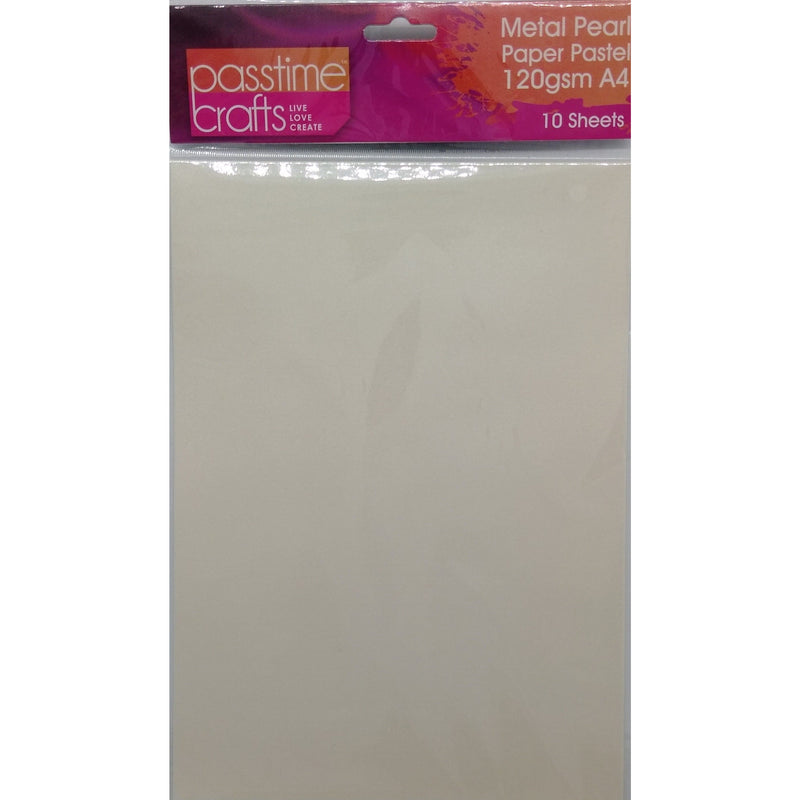 Metal Pearl Paper Pastel 120gsm A4 Off White 10 Pieces