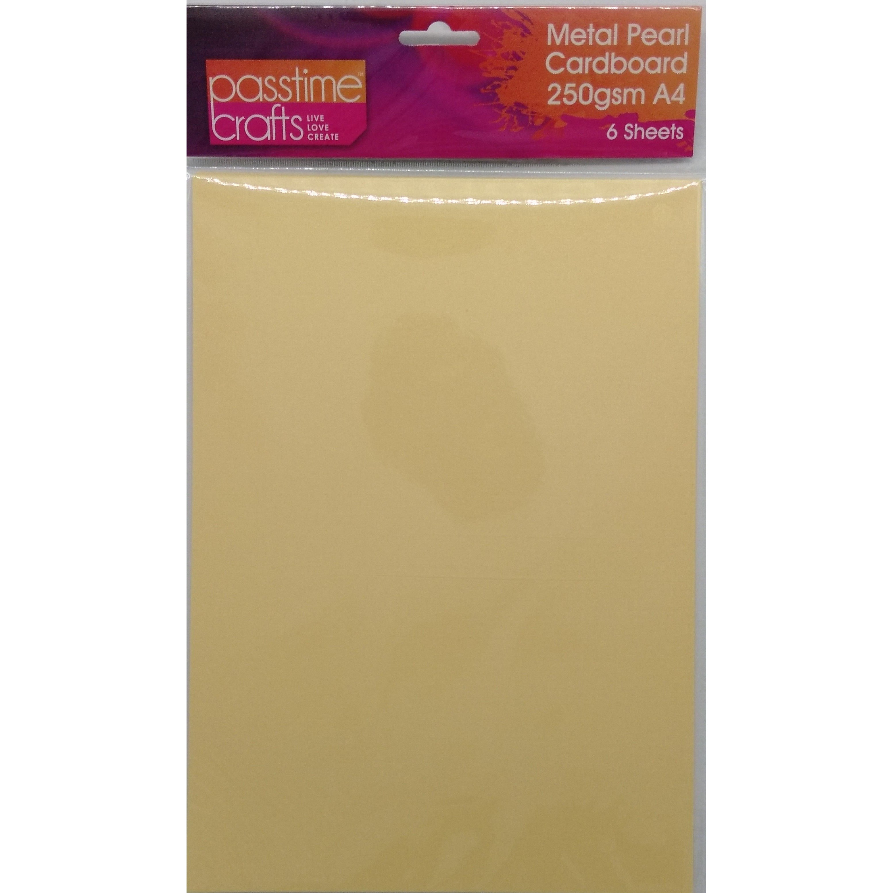 Metal Pearl Cardboard 250gsm A4 Yellow 6 Pieces