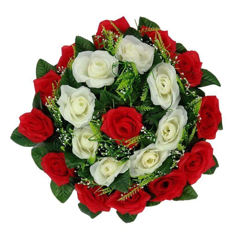 Artificial Flowers Wreath Red & White Lge 35cm
