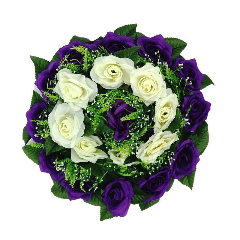 Artificial Flowers Wreath White & Purple Lge 35cm