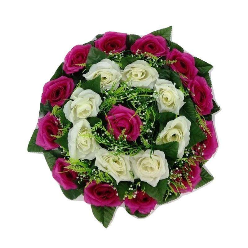 Artificial Flower Centrepiece White and Dark Pink 35cm