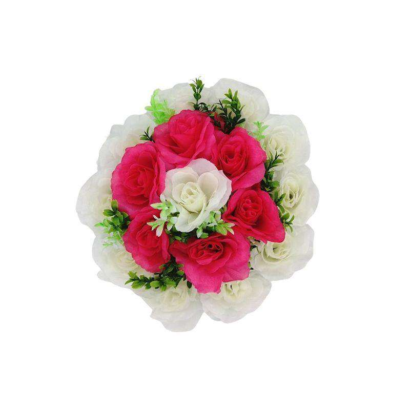Artificial Flowers Wreath White & Dark Pink Med 25cm