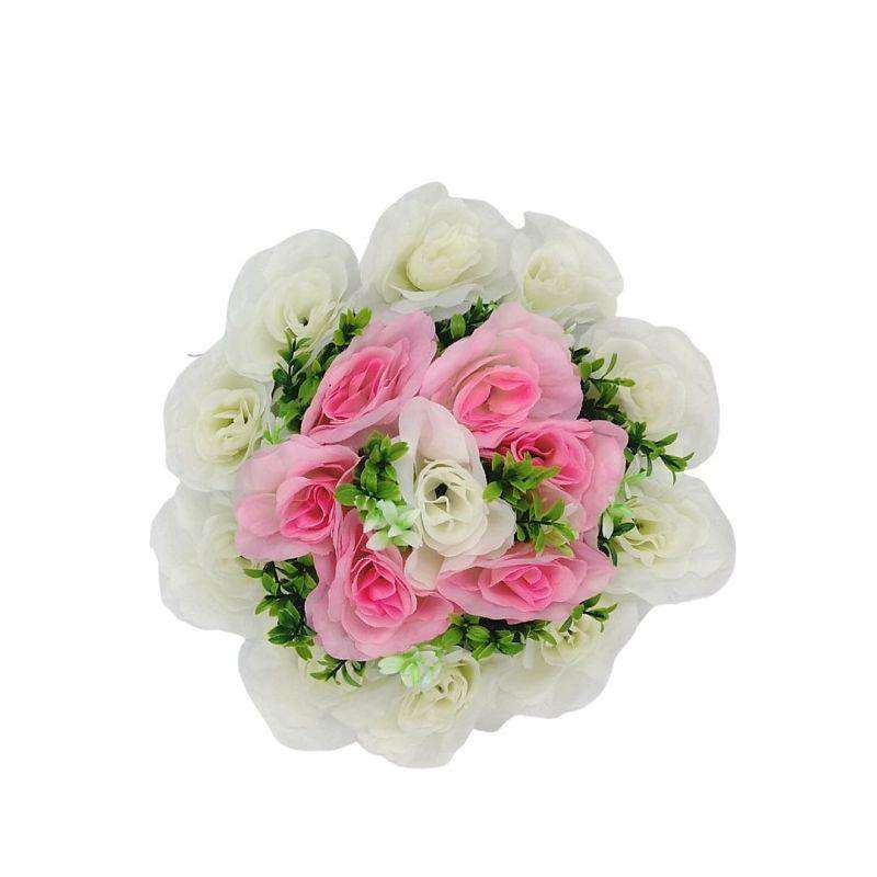 Artificial Flowers Wreath White & Light Pink Med 25cm