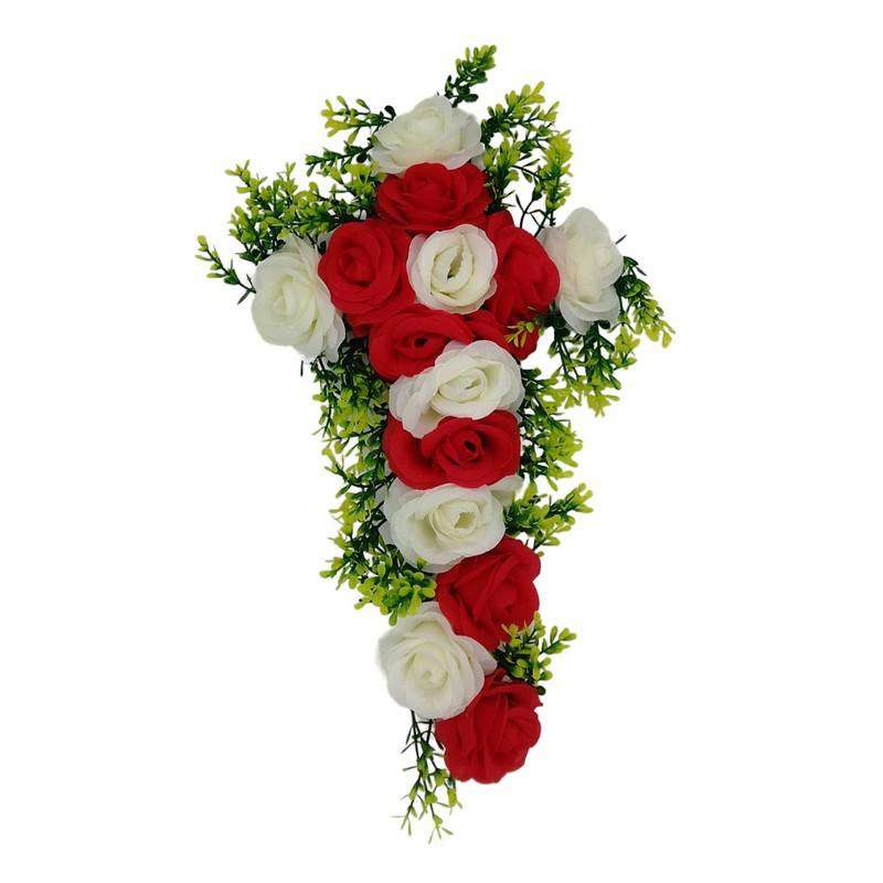 Gravesite Artificial Floral Cross White & Red 44 x 30cm