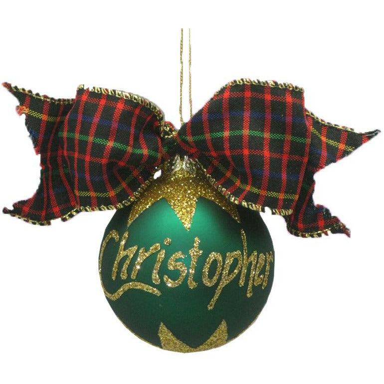 Personalised Christmas Baubles|Buy Personalised Glass Green Bauble Gift Box 70mmD| Dollars and Sense