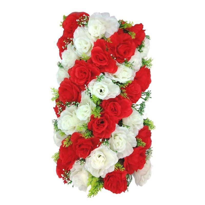 Artificial Flowers Rectangle Red and White