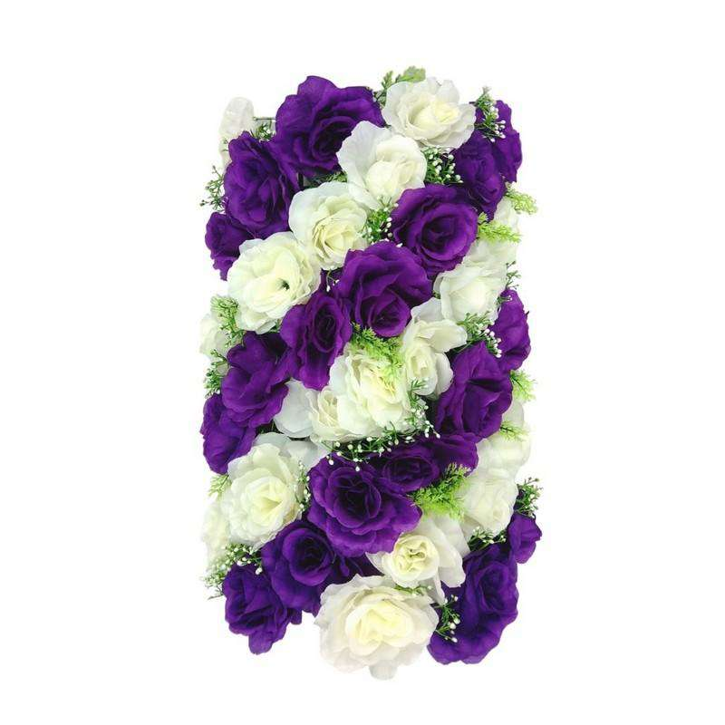 Artificial Flowers Rectangle Purple and White