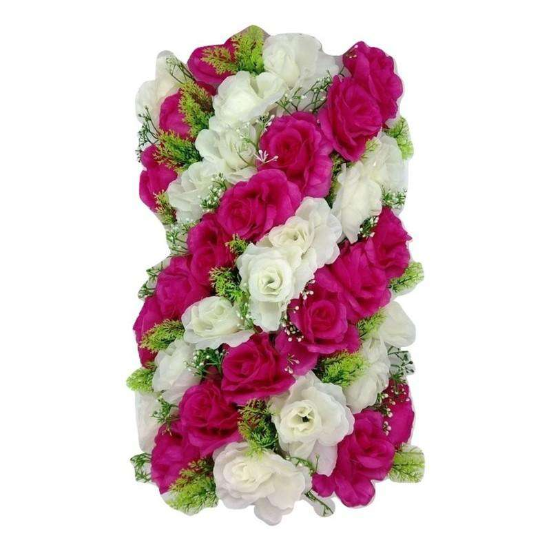 Artificial Flowers Rectangle Dark Pink and White