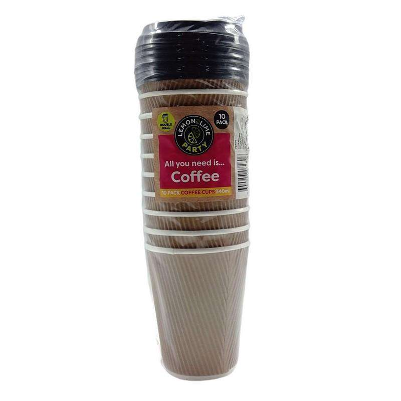 Coffee Cups Disposable 10 Pack Brown