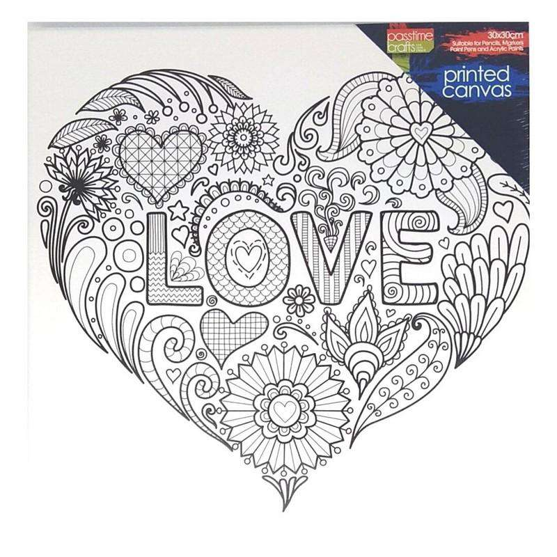 Buy Cheap art & craft online | Colour-in Pre-printed Canvas Heart|  Dollars and Sense cheap and low prices in australia