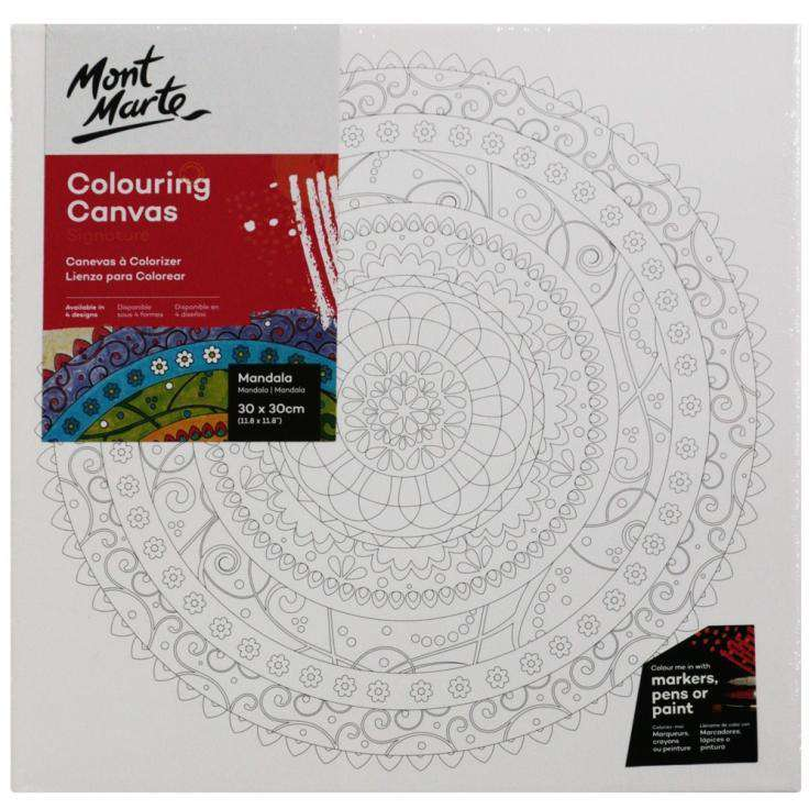 Buy onilne Mont Marte Mont Marte Colouring Canvas Pre Printed Mandala 380gsm 30x30cm | Dollars and Sense cheap and low prices in australia