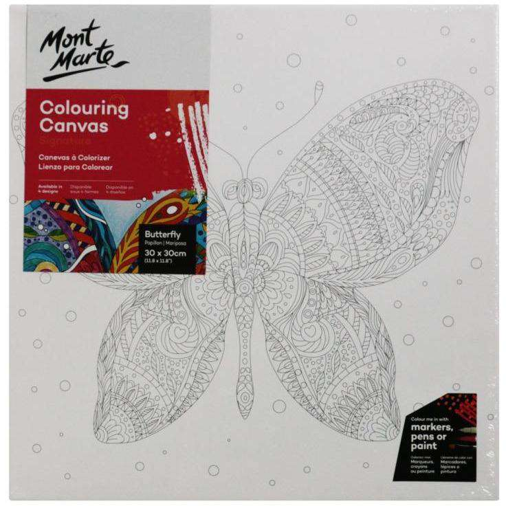 Buy onilne Mont Marte Mont Marte Colouring Canvas Pre Printed Butterfly 380gsm 30x30cm | Dollars and Sense cheap and low prices in australia