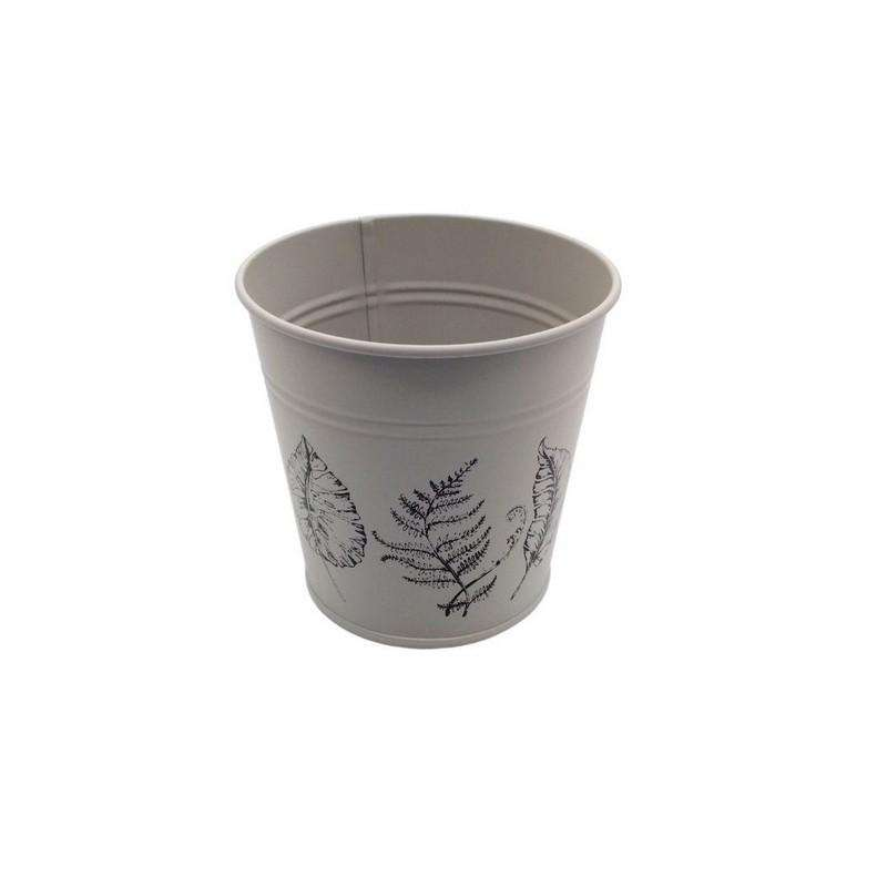 Round Pot Leaf Print Cream 10.5cm