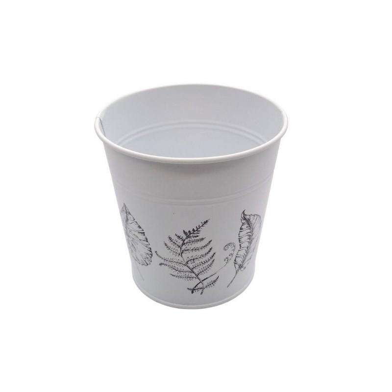 Round Pot Leaf Print White 13cm