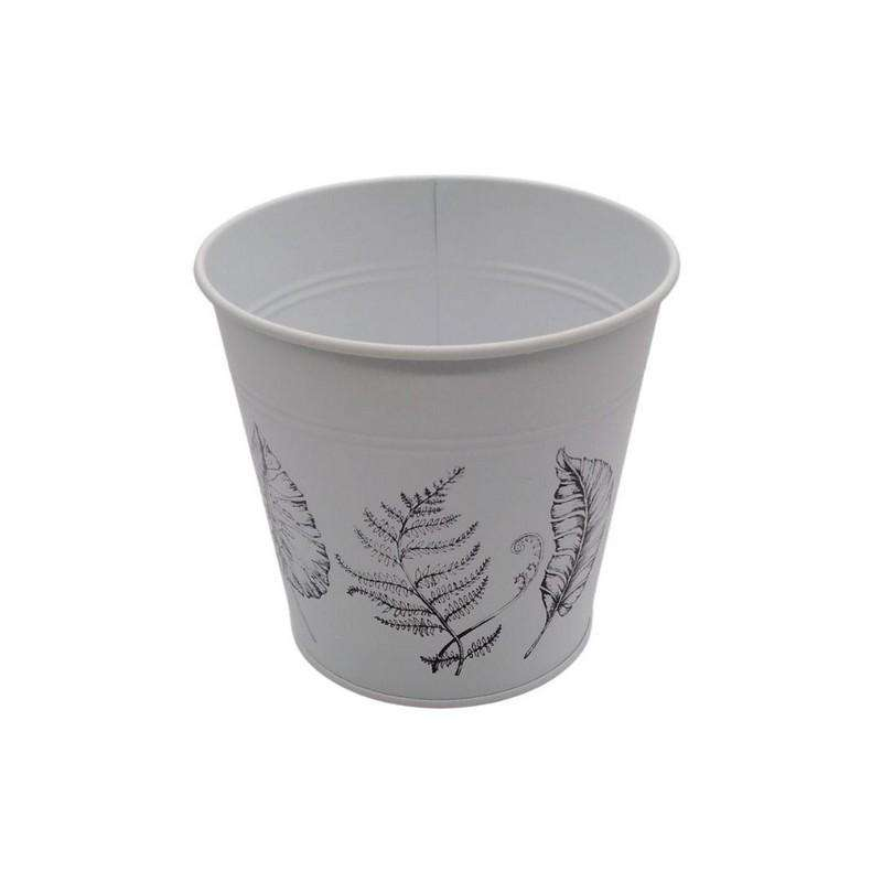 Buy Round Pot Leaf Print White 16cm | Dollars and Sense