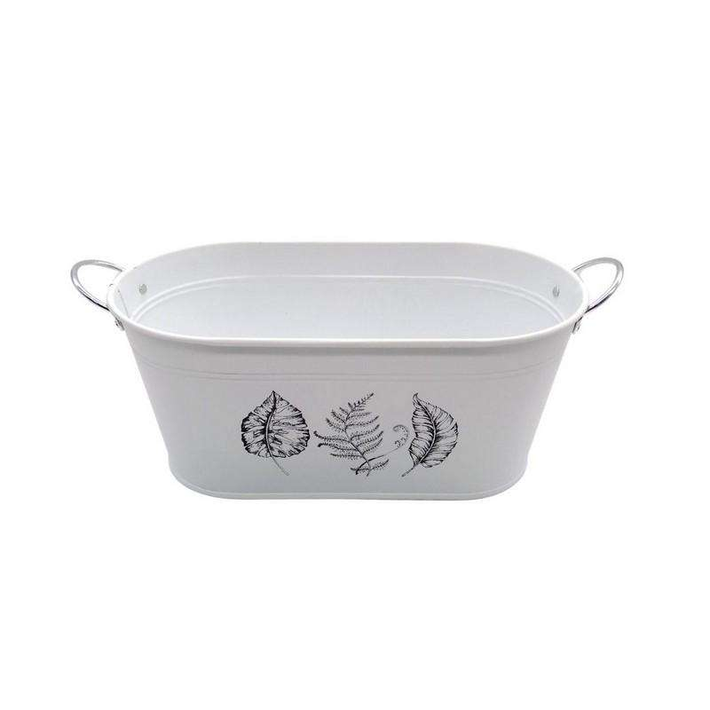 Buy Oval Tub With Handles Leaf Print White 14.5x28.5x12.5cm High | Dollars and Sense