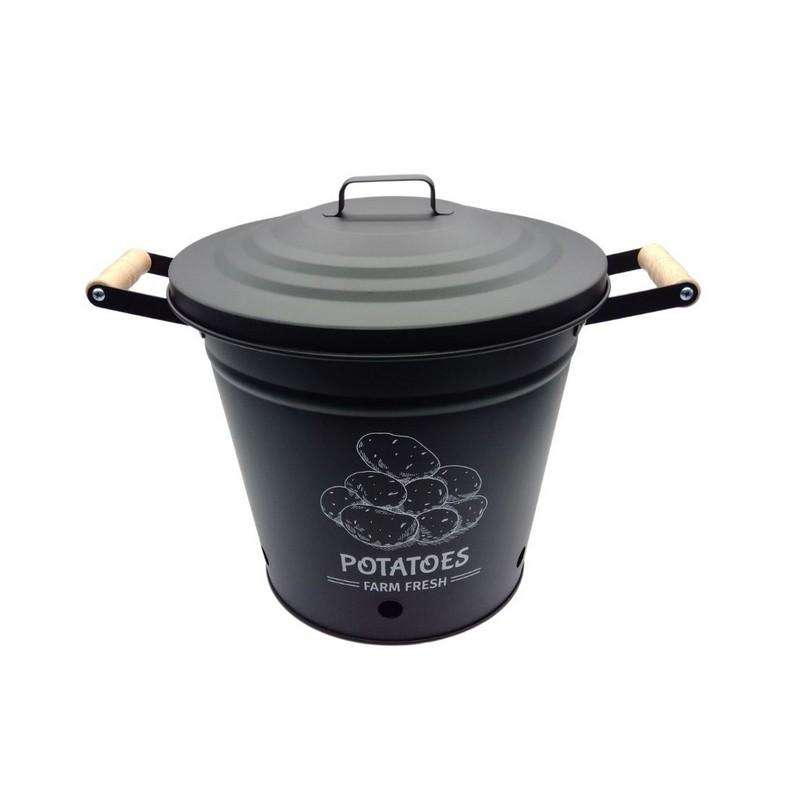Round Bucket with Lid Black 28.5x26cm High