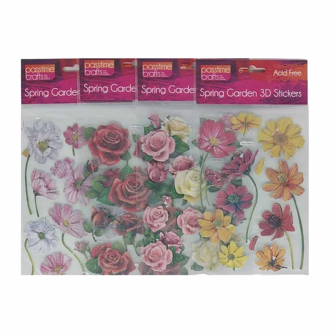3D Flower Stickers Rose and Daisy Pack of 4
