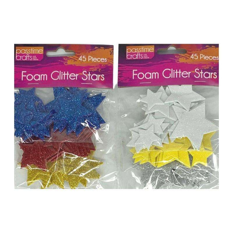 Buy Cheap art & craft online | Foam Glitter Stars Pack of 2|  Dollars and Sense cheap and low prices in australia