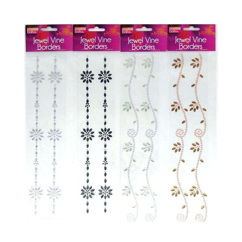 Jewel Vine Borders Assorted Colours Pack of 4