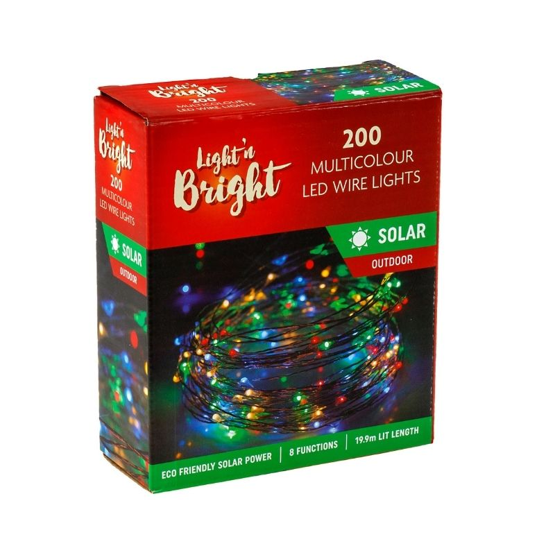 Solar Copper Wire Multicolour Lights 200Pk