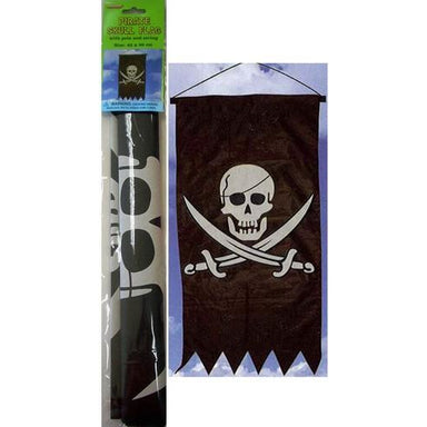 Pirate Skull Flag With Pole & String 43 x 86cm