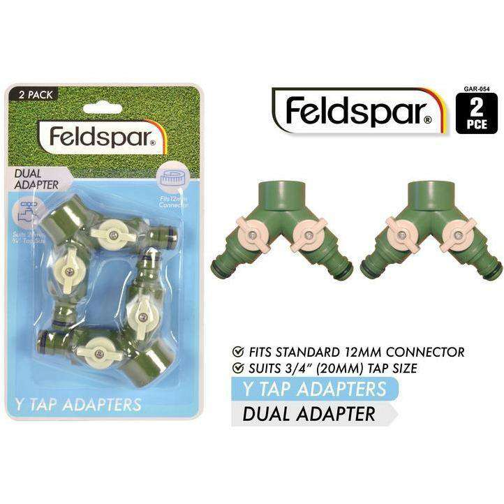 Y Dual Tap Adapters with Locks Fits 12mm Hose 20mm Tap 2pcs