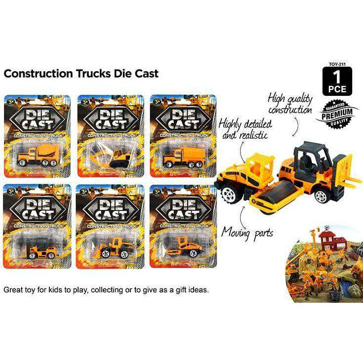 Die Cast Construction Trucks 6 Asstd
