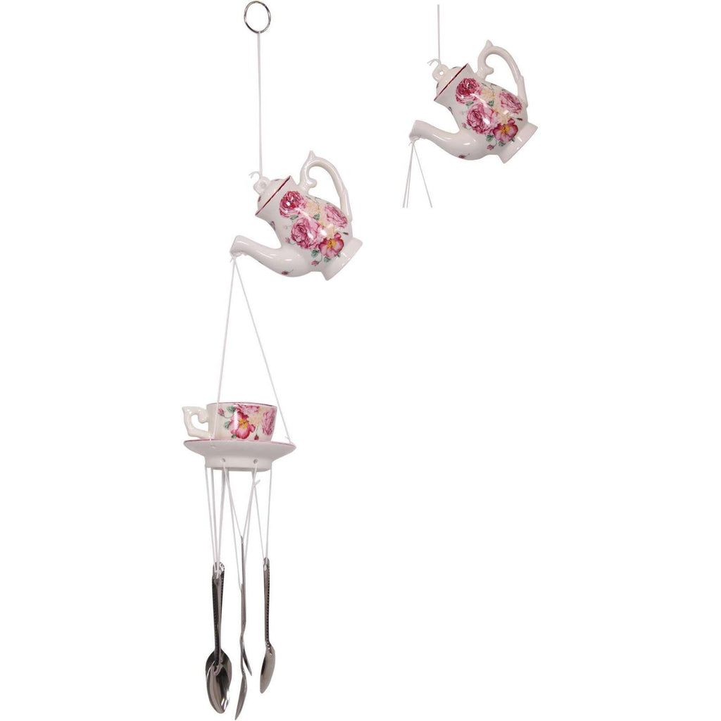 Victorian Wind Chime Teapot, Teacup & Spoons