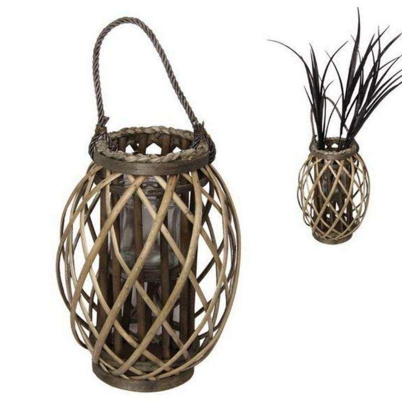 Natural Wicker Plant Holder with Glass Holder 32cm