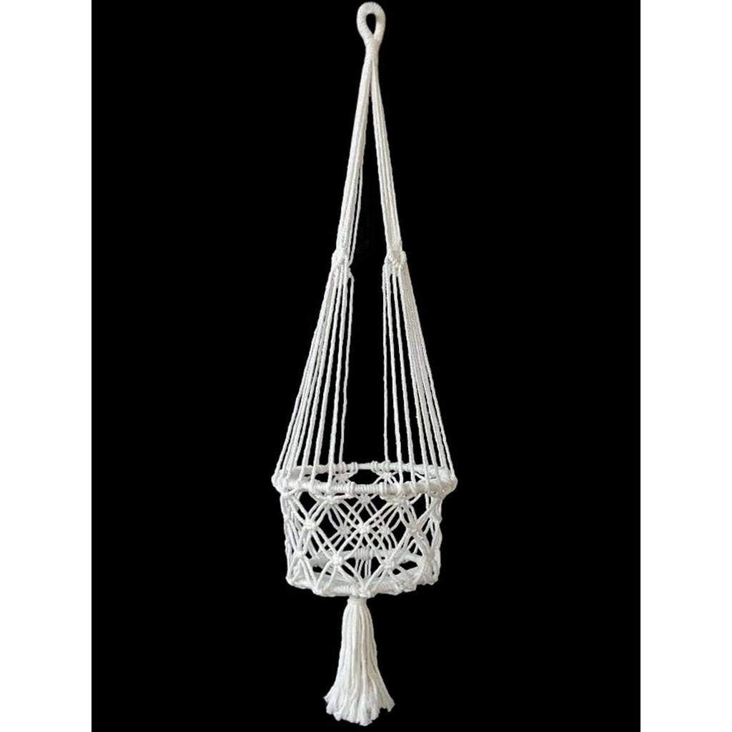 White Macrame Pot Holder 100cm
