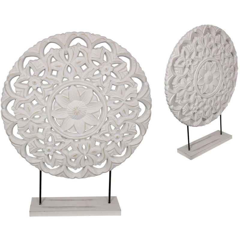 White Filigree Decor Design On Stand 40cm
