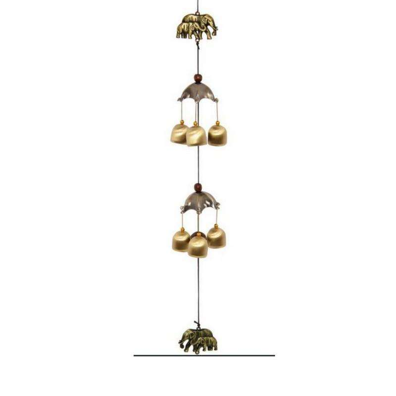 6 Bell Elephant Umbrella Wind Chime 60cm