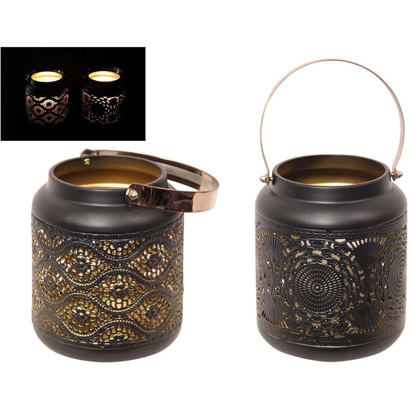 Black and Gold Moroccan Lantern Assorted Designs 23cm