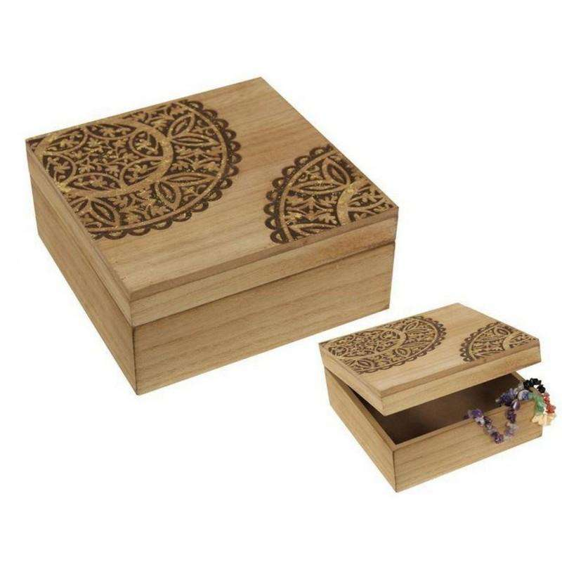Square Gold Mandala MDF Box 15x15cm
