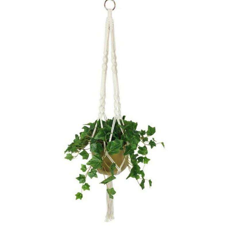 Hanging Green Plant Gold Pot in Macrame Hanger 95cm