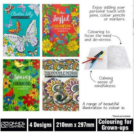 Calming Colouring Book Adults 4 Designs A5