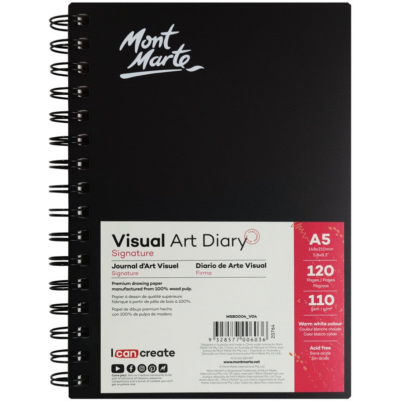 Buy onilne Mont Marte Signature Visual Art Diary 110gsm A5 120 Page | Dollars and Sense cheap and low prices in australia