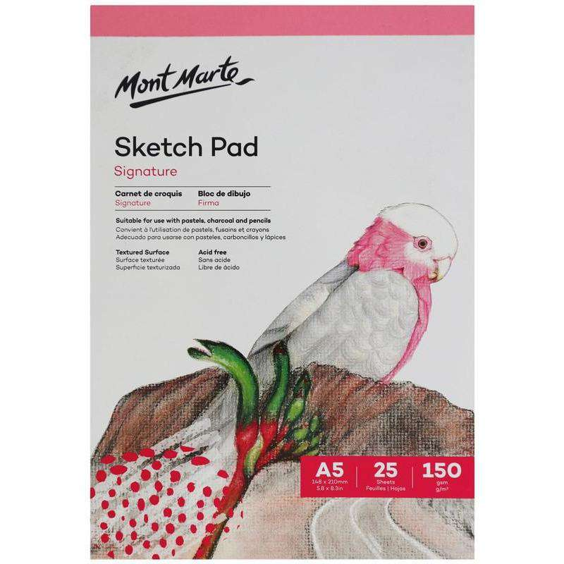 Buy onilne Mont Marte Signature Sketch Pad 150gsm 25 Sheet A5 148 x 210mm (5.8 x 8.3in) | Dollars and Sense cheap and low prices in australia