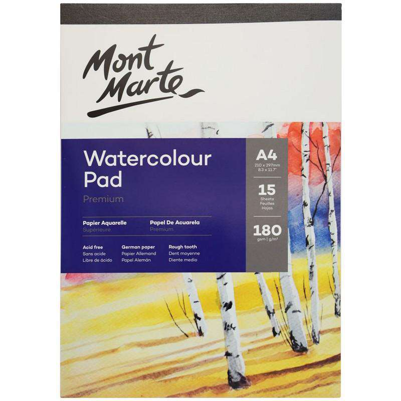 Buy onilne Mont Marte Mont Marte A4 Watercolour Pad German Paper 180gsm 15 Sheets | Dollars and Sense cheap and low prices in australia