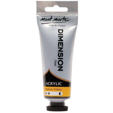 Buy onilne Mont Marte Dimension Acrylic Paint 75ml - Medium Yellow | Dollars and Sense cheap and low prices in australia