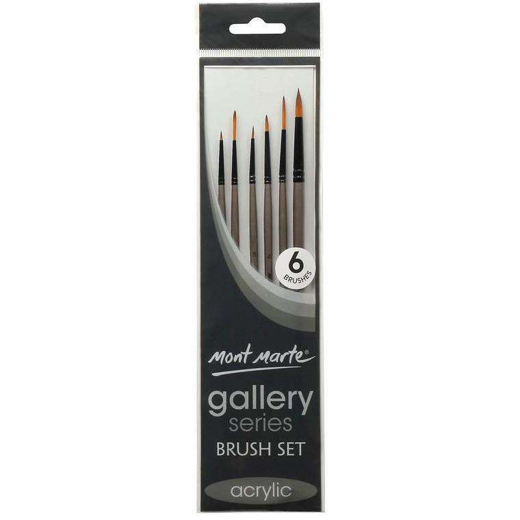 Buy onilne Mont Marte Gallery Series Acrylic Paint Brush Set 6pc | Dollars and Sense cheap and low prices in australia
