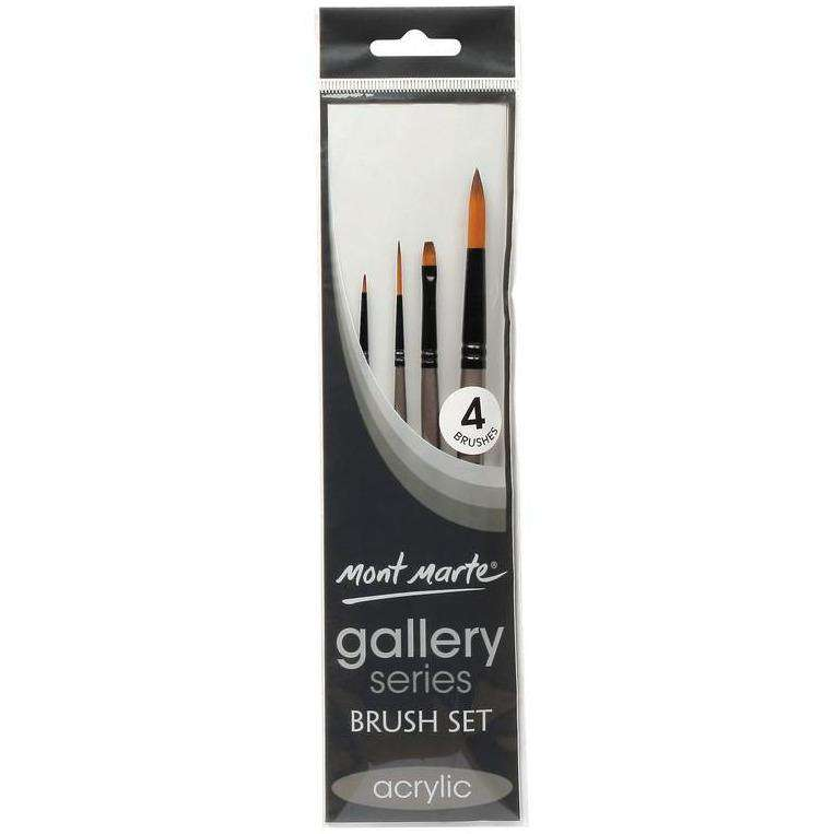 Buy onilne Mont Marte Mont Marte Gallery Series Brush Set Acrylic 4pcs | Dollars and Sense cheap and low prices in australia