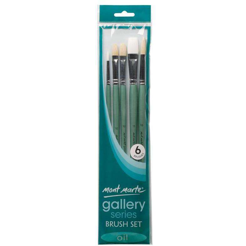 Buy onilne Mont Marte Mont Marte Gallery Series Brush Set Oils 6pcs | Dollars and Sense cheap and low prices in australia