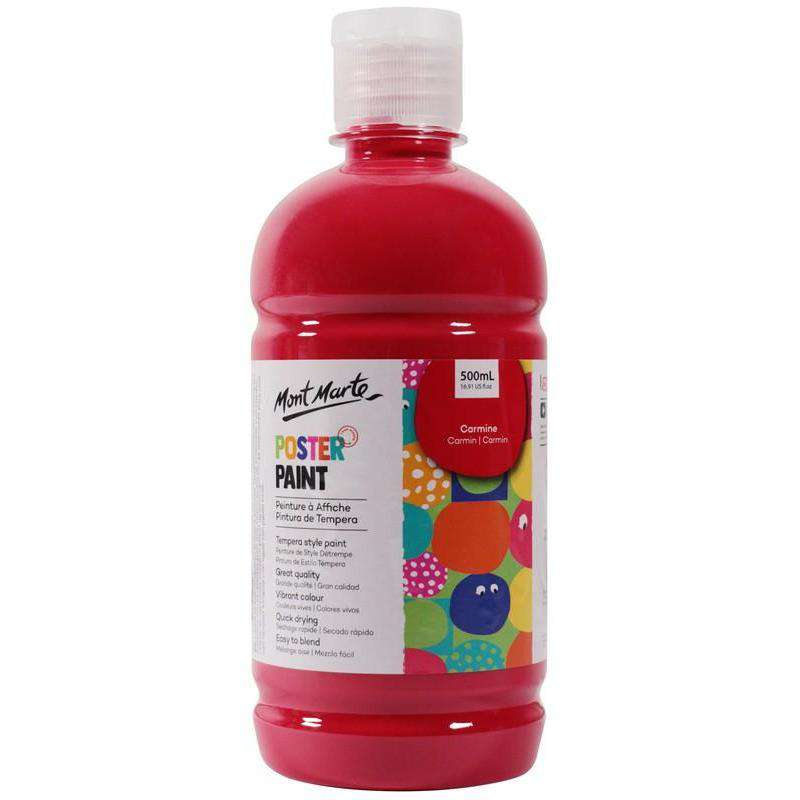 Buy onilne Mont Marte Mont Marte Poster Paint Carmine 500ml | Dollars and Sense cheap and low prices in australia
